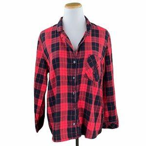 Victoria's Secret Red Plaid Flannel Sleep Shirt